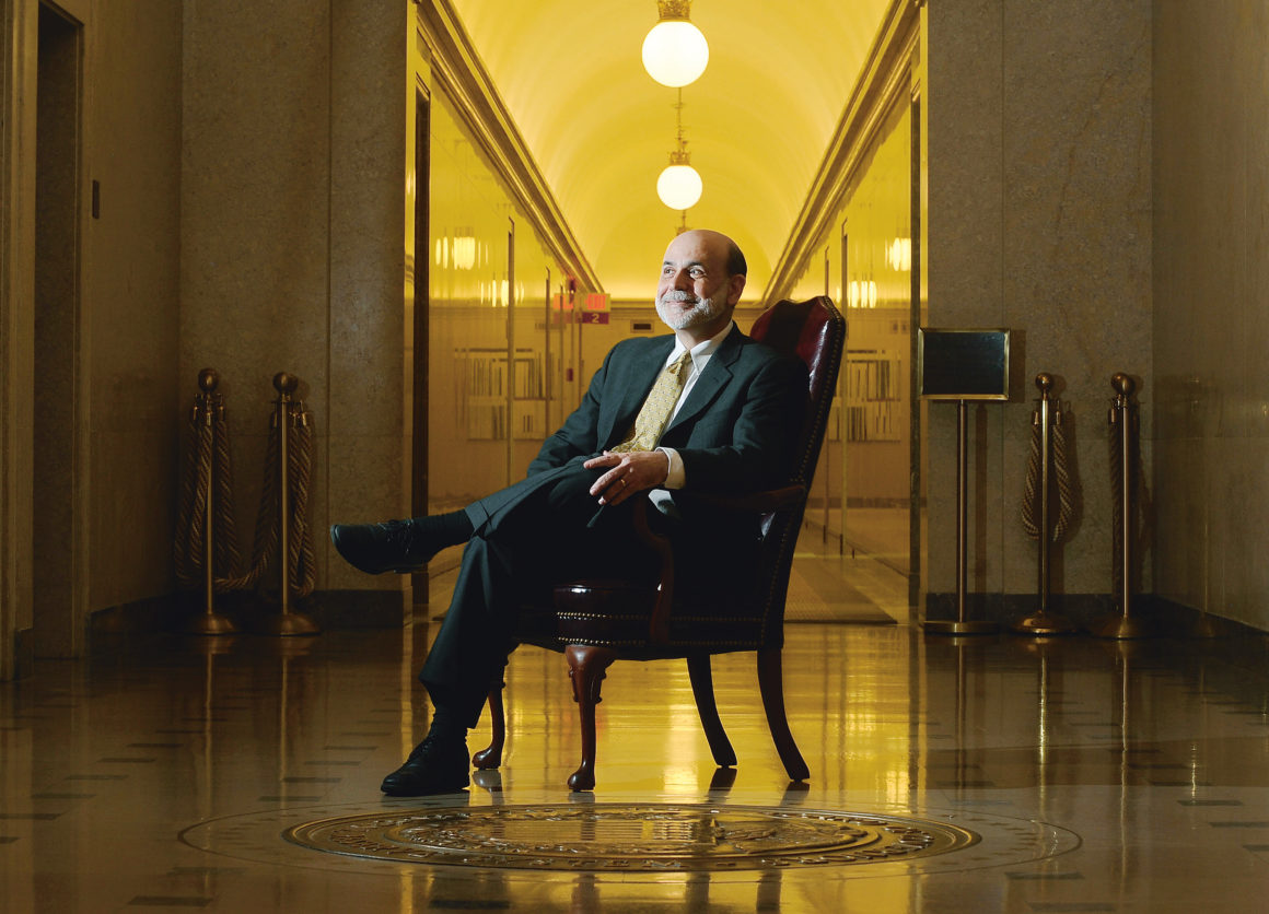 Federal Reserve Chairman Ben S. Bernanke in the hallway outside his office at the Federal Reserve building in Washington, May 5, 2010. Bernanke nearly saw his career in public service scuttled by widespread discontent about lax regulation of Wall Street and historic federal bailouts. (Mary F. Calvert/The New York Times)