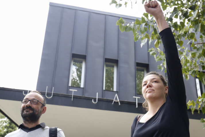 Mayor of Berga Montse Venturos (R) raises her fist as she leaves the courthouse in Berga on November 4, 2016. The mayor of the small Catalan town of Berga became today the first arrested for disobeying political independence of justice in the process of secession began in this region of northeastern Spain. / AFP / PAU BARRENA (Photo credit should read PAU BARRENA/AFP/Getty Images)