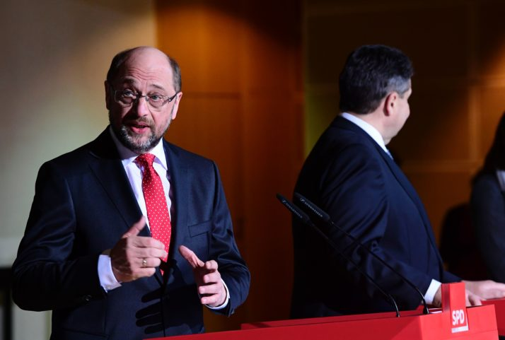 German Vice Chancellor, Economy and Energy Minister Sigmar Gabriel (R) and former European Parliament President Martin Schulz attend a joint press conference at the Social Democratic Party (SPD) headquarters Willy-Brandt-Haus in Berlin on January 24, 2017. The leader of Germany's Social Democrats, Sigmar Gabriel, told Die Zeit newspaper that he would recommend that former European Parliament president Martin Schulz take his place as SPD party chairman and chancellor candidate, as he made the surprise announcement on January 24, 2017 that he would not run against Chancellor Angela Merkel in a September general election. / AFP / Tobias SCHWARZ (Photo credit should read TOBIAS SCHWARZ/AFP/Getty Images)
