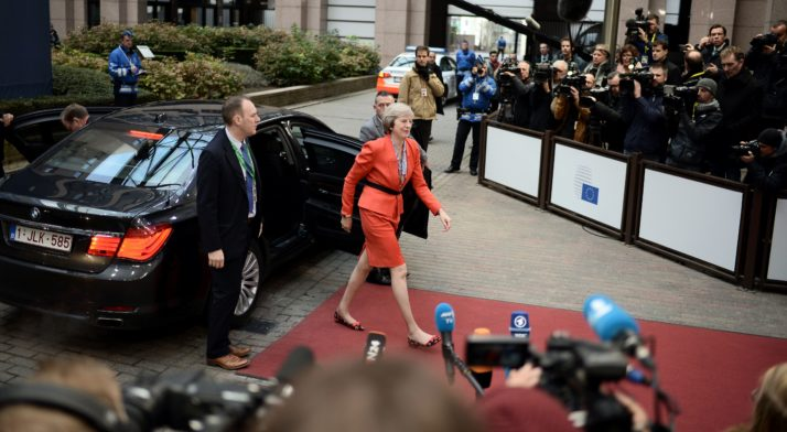 Britain's Prime minister Theresa May arrives for the second day of an European Union leaders summit to discuss Syria, relations with Russia, trade and migration, on October 21, 2016 at the European Council, in Brussels. / AFP / STEPHANE DE SAKUTIN (Photo credit should read STEPHANE DE SAKUTIN/AFP/Getty Images)