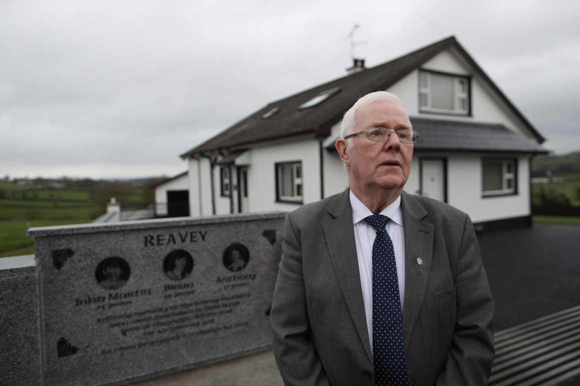 16/02/17 Maxwell Photography/Julien Behal Irish Dept of Foreign Affairs Brexit visit Northern Ireland Border. All Island Civic Dialogue Pic shows Eugene Reavey brother of the 3 Reavey brothers,Catholics murdered on the 4th January 1976 by Loyalist Terrorists at the scene of the killings outside Whitecross South Armagh .The Kingsmills road saw over 35 murders during the troubles. Pic Maxwells/Julien Behal