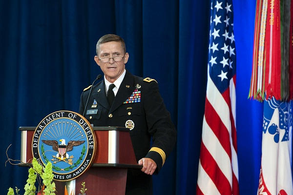 Army Lieutenant General Michael Flynn speaks at the Defense Intelligence Agency change of directorship at Joint Base Anacostia-Bolling, July 24, 2012. Army Lieutenant General Ronald Burgess Jr. turned over directorship of DIA to LtGen Flynn after serving in the position since 2009. DoD photo by Erin A. Kirk-Cuomo (Released)