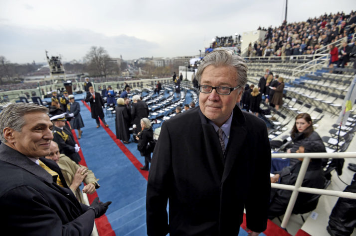 Steve Bannon, appointed chief strategist and senior counselor to President-elect Donald Trump, arrives for the Presidential Inauguration of Trump at the US Capitol in Washington, DC, January 20, 2017. / AFP / POOL / SAUL LOEB (Photo credit should read SAUL LOEB/AFP/Getty Images)