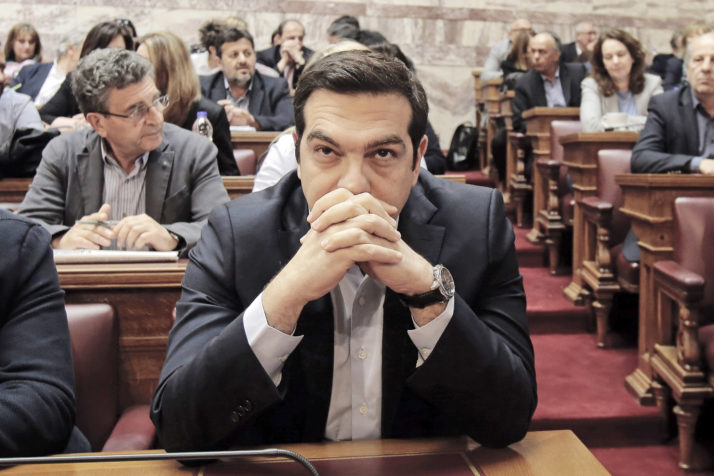 ATHENS, GREECE - MAY 6: Greek Prime Minister Alexis Tsipras attends his party Lawmakers meeting inside the Greek Parliament on May 6, 2016 in Athens, Greece. Unions called the strike to protest against pension reforms that are part of Greece's third international bailout. (Photo by Milos Bicanski/Getty Images)