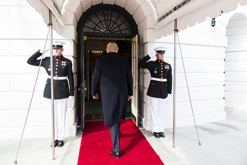 Trump walks into the Diplomatic Receiving Room of the White House Flickr The White House