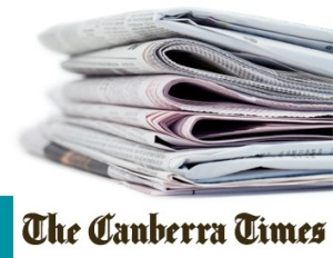 The Canberra Times 1a logo & pile of newspapers LL