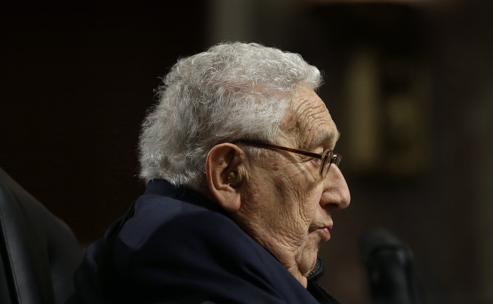 WASHINGTON, DC - JANUARY 29: Former U.S. Secretary of State Henry Kissinger testifies before the Senate Armed Services Committee January 29, 2015 in Washington, DC. The committee heard testimony from Kissinger, former U.S. Secretary of State George Schultz and former U.S. Secretary of State Madeleine Albright on the topic of global challenges and U.S. national security strategy. (Photo by Win McNamee/Getty Images)