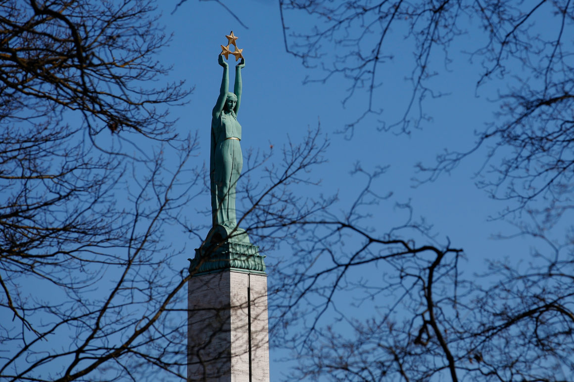 RIGA, LATVIA - MARCH 22: The Freedom Monument honouring soldiers killed during the Latvian War of Independence from1918 to 1920 is pictured on March 22, 2013 in Riga, Latvia. (Photo by Dean Mouhtaropoulos/Getty Images)