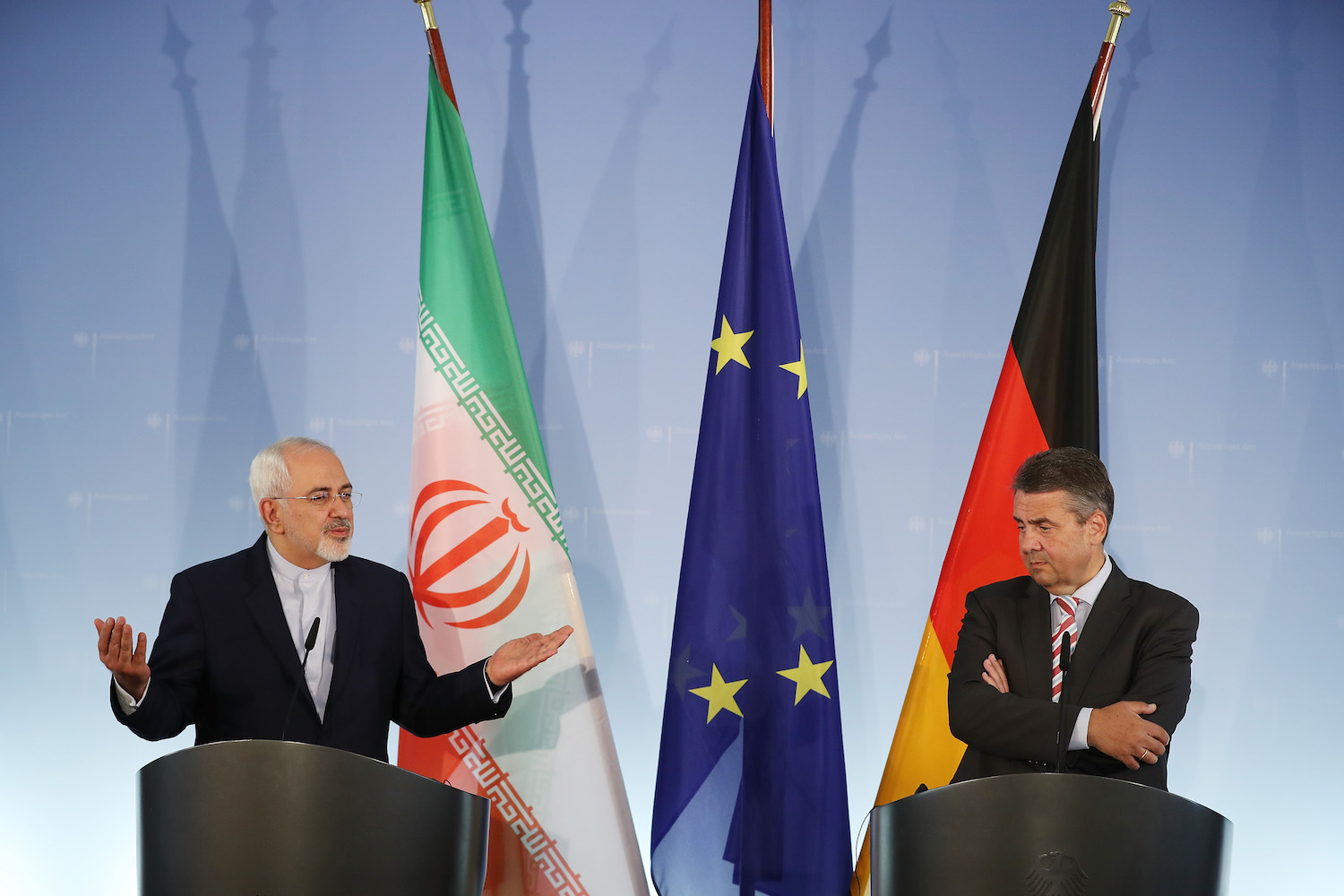 BERLIN, GERMANY - JUNE 27: Iranian Minister of Foreign Affairs Mohammad Javad Zarif (L) and German Foreign Minister Sigmar Gabriel speak to the media following talks on June 27, 2017 in Berlin, Germany. The two men discussed bilateral relations as well as the Iran nuclear agreement, which eases international sanctions against Iran in exchange for commitments by Iran on its nuclear program. (Photo by Sean Gallup/Getty Images)