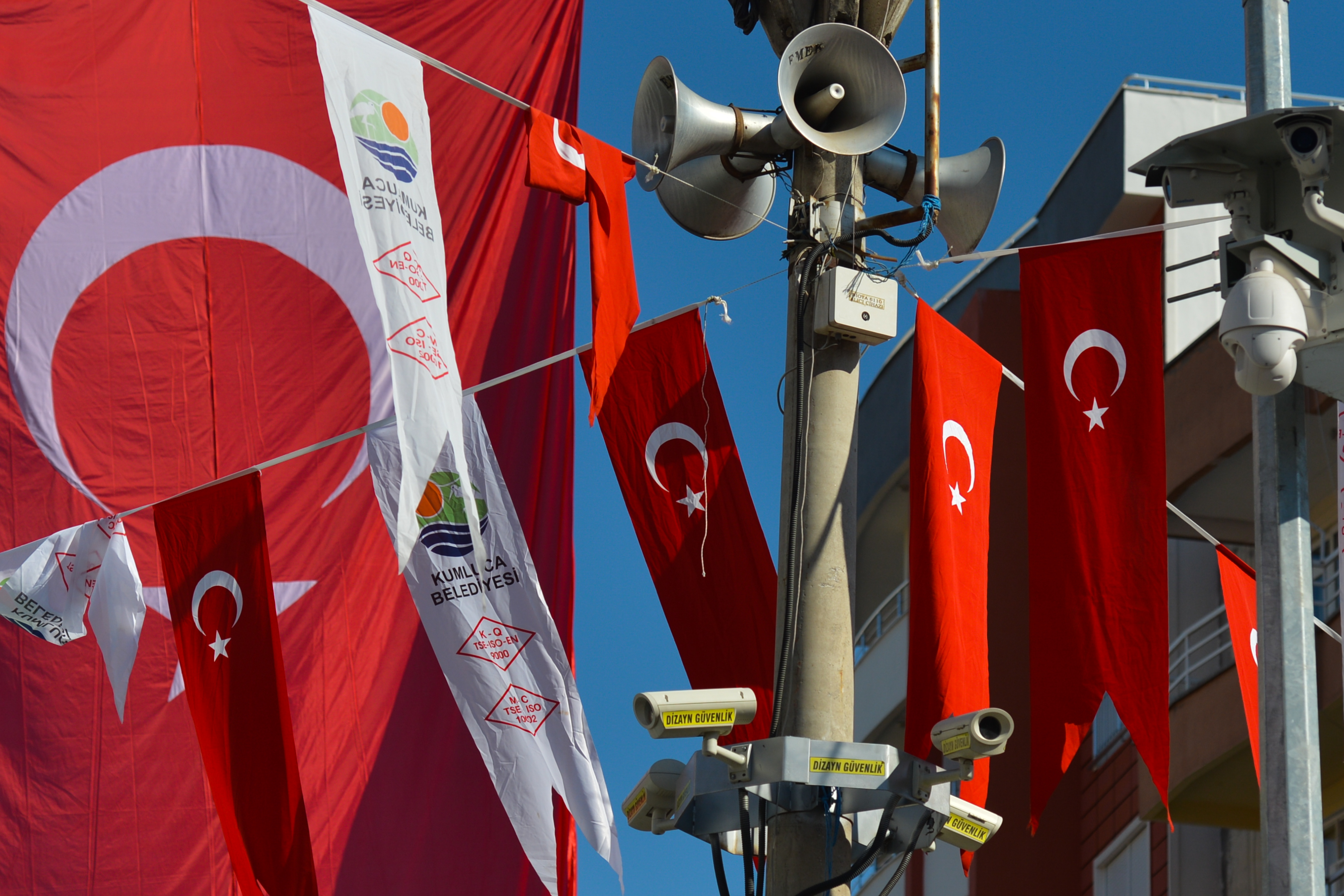Turkish National flags and CCTV cameras and spikers seen in the main roundabout of Kumluca. On Wednesday, 11 October 2017, in Kumluka, Turkey. (Photo by Artur Widak/NurPhoto via Getty Images)