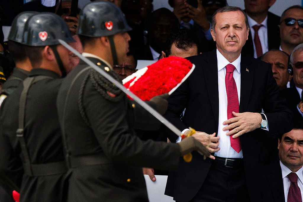 SEDDULBAHIR, TURKEY - APRIL 24: Soldiers march in front of Turkish President Recep Tayyip Erdogan during the Turkish International Ceremony at Mehmetcik Abidesi Martyrs Memorial to commemorate the centenary of the Gallipoli campaign on April 24, 2015 near Seddulbahir Turkey.. Allied and Turkish representatives, as well as family members of those who served, will commemorate the 100th anniversary of the campaign with ceremonies scheduled for April 24-25. The Gallipoli land campaign, in which a combined Allied force of British, French, Australian, New Zealand and Indian troops sought to occupy the Gallipoli peninsula and the strategic Dardanelles strait during World War I, began on April 25, 1915 against Turkish forces of the Ottoman Empire. The Allies, unable to advance more than a few kilometers, withdrew after eight months. The campaign cost the Allies approximately 45,000 killed and up to 200,000 wounded, the Ottomans approximately 85,000 killed and 160,000 wounded. on April 24, 2015 in Eceabat, Turkey. Allied and Turkish representatives, as well as family members of those who served, will commemorate the 100th anniversary of the campaign with ceremonies scheduled for April 24-25. The Gallipoli land campaign, in which a combined Allied force of British, French, Australian, New Zealand and Indian troops sought to occupy the Gallipoli peninsula and the strategic Dardanelles strait during World War I, began on April 25, 1915 against Turkish forces of the Ottoman Empire. The Allies, unable to advance more than a few kilometers, withdrew after eight months. The campaign cost the Allies approximately 45,000 killed and up to 200,000 wounded, the Ottomans approximately 85,000 killed and 160,000 wounded. (Photo by Carsten Koall/Getty Images)