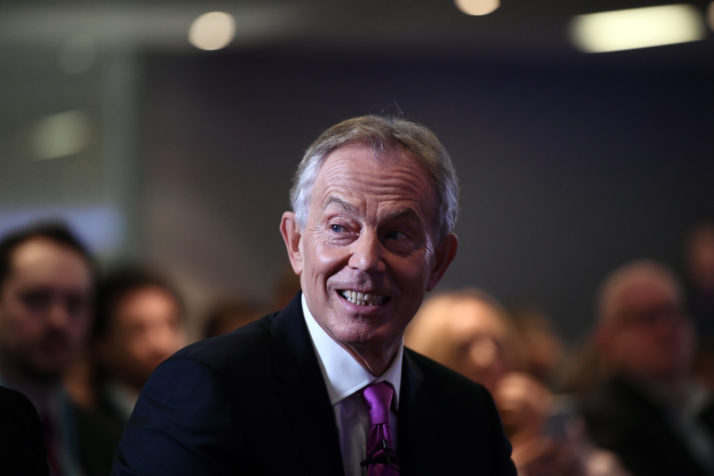 LONDON, ENGLAND - FEBRUARY 17: Former British Prime Minister Tony Blair waits to deliver a keynote speech at a pro-EU event on February 17, 2017 in London, England. Mr Blair claimed that people voted in the referendum without knowledge of the true terms of Brexit and urged people to change their minds and rise up against Brexit. (Photo by Carl Court/Getty Images)