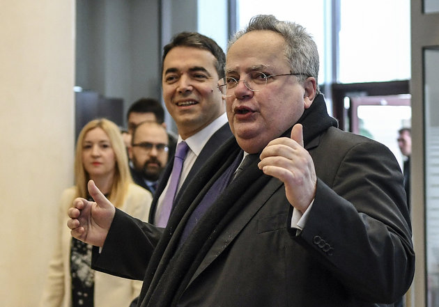 Macedonian Minister of Foreign Affairs Nikola Dimitrov (L) welcomes his Greek counterpart Nikos Kotzias at the Ministry of Foreign Affairs in Skopje, on March 23, 2018. / AFP PHOTO / Robert ATANASOVSKI        (Photo credit should read ROBERT ATANASOVSKI/AFP/Getty Images)