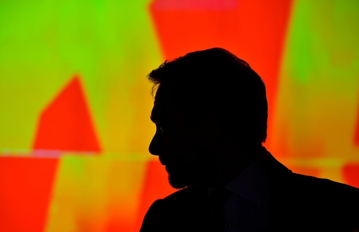 Christian Lindner, chairman of Germany's liberal Free Democratic Party (FDP), waits for the start of a party congress in Berlin on May 12, 2018. (Photo by TOBIAS SCHWARZ / AFP) (Photo credit should read TOBIAS SCHWARZ/AFP/Getty Images)