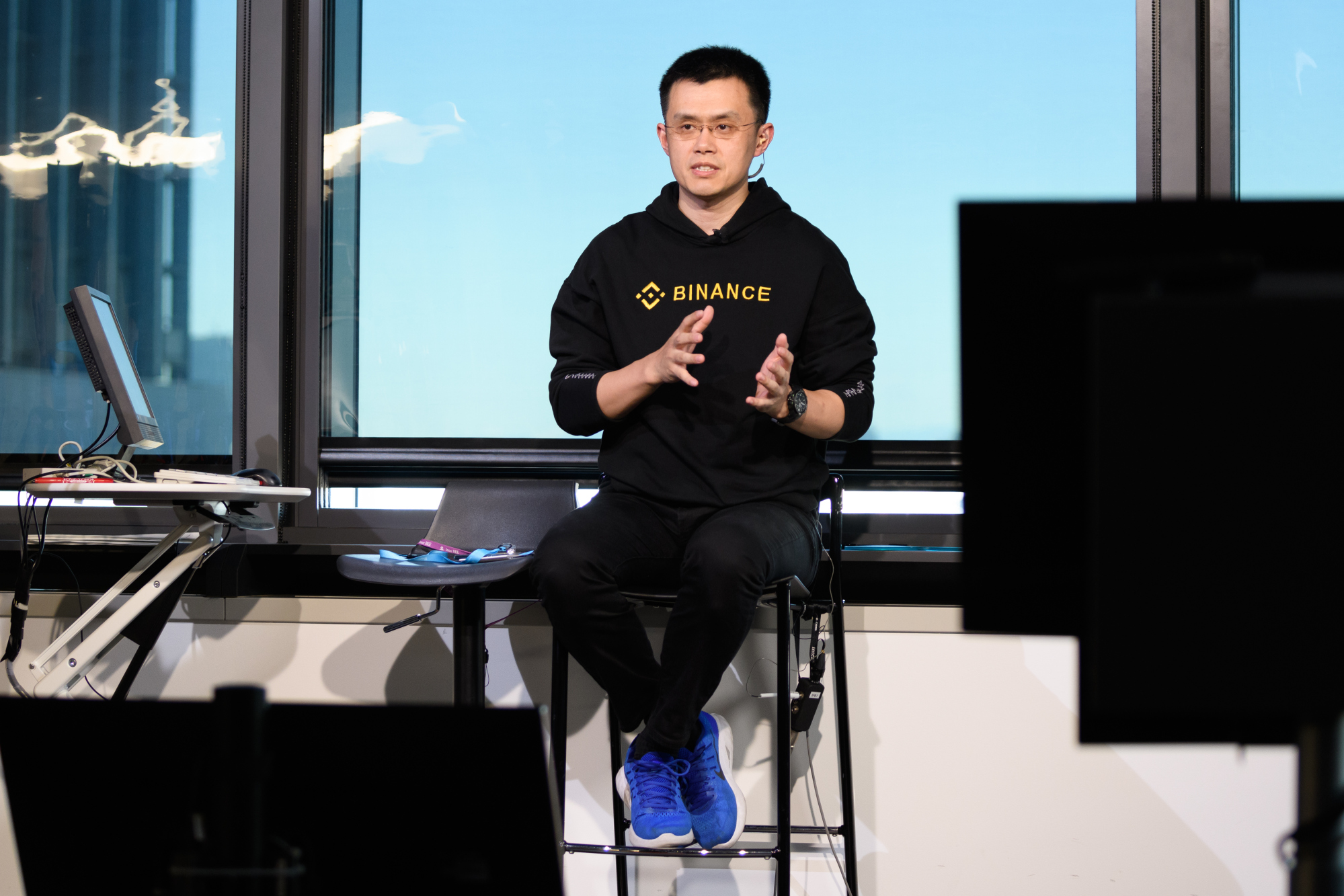 Zhao Changpeng, chief executive officer of Binance, speaks during a Bloomberg television interview in Tokyo, Japan, on Thursday, Jan. 11, 2018. Photographer: Akio Kon/Bloomberg