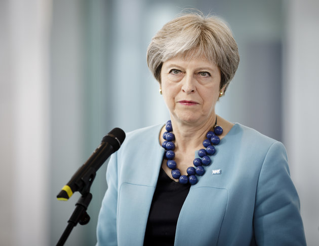 Berlin, Germany - July 05:  Theresa May, Prime Minister of the United Kingdom, captured in the chancellery on July 05, 2018 in Berlin, Germany. (Photo by Inga Kjer/Photothek via Getty Images)