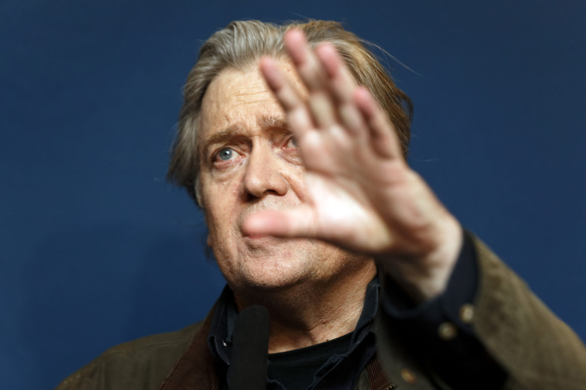 LILLE, FRANCE - MARCH 10: Former U.S. President Donald Trump advisor Steve Bannon gives a press conference during the French far-right Front National (FN) party annual congress on March 10, 2018 at the Grand Palais in Lille, north of France. Le Pen will attempt to revive her battered party this weekend at a conference with a proposal to ditch the tainted National Front brand, seen as a key hurdle to winning power. (Photo by Sylvain Lefevre/Getty Images)