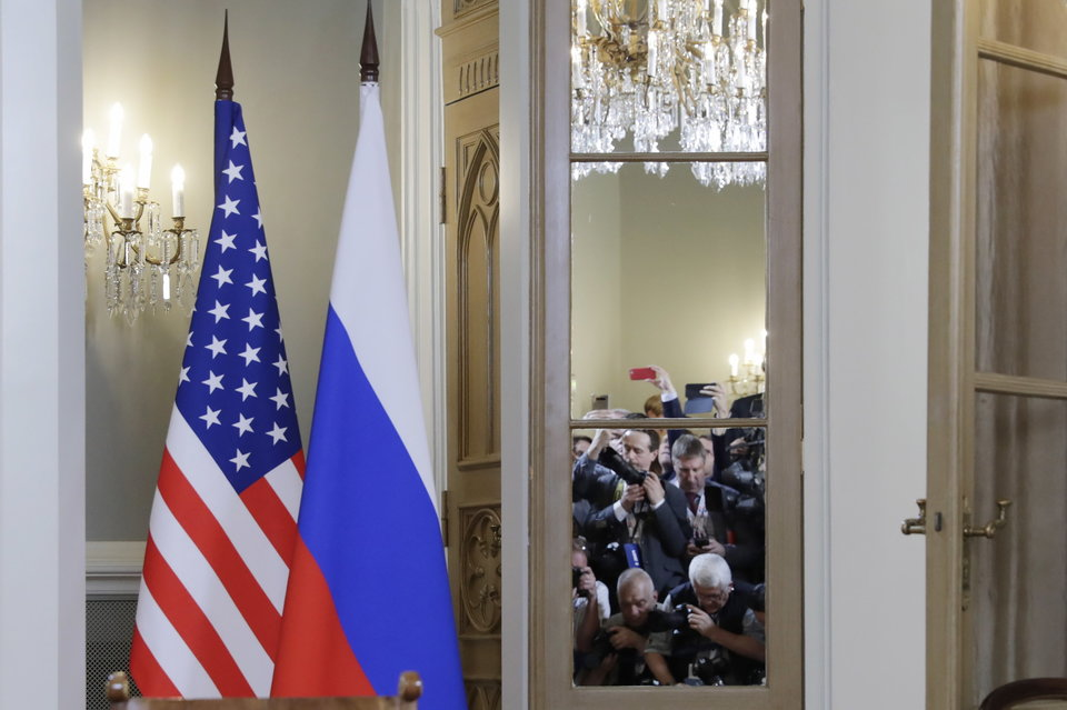 HELSINKI, FINLAND - JULY 16, 2018: The national flags of Russia and the United States seen ahead of a meeting of Russia's President Vladimir Putin and US President Donald Trump. Mikhail Metzel/TASS (Photo by Mikhail MetzelTASS via Getty Images)