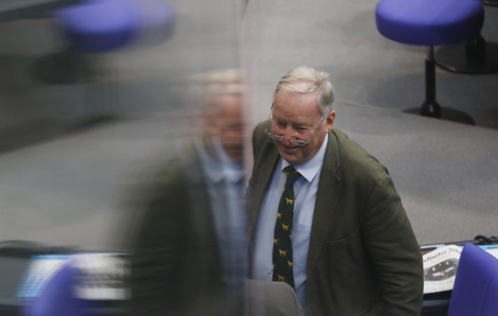BERLIN, GERMANY - SEPTEMBER 12: Alexander Gauland, Leader of the Right wing AfD Party arrives at a session of the Bundestag following the parliamentary summer recess on September 12, 2018 in Berlin, Germany. Relations within the governing German coalition have once again become strained, this time due to comments made by German Interior Minister and Bavarian Christian Social Union leader Horst Seehofer following the recent murder of a German by refugees and the ensuing marches by right-wing supporters in the city of Chemnitz. (Photo by Michele Tantussi/Getty Images)