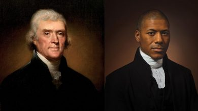 Photo of Image of Thomas Jefferson alongside Black descendant holds 'a mirror' to America