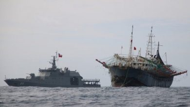 Photo of Chilean navy ships monitor huge Chinese fishing fleet