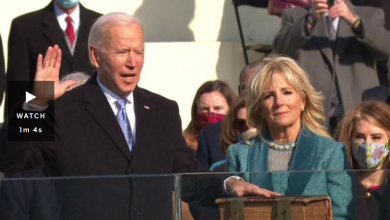 Photo of United States President Joe Biden and Vice-President Kamala Harris sworn in during inauguration ceremony